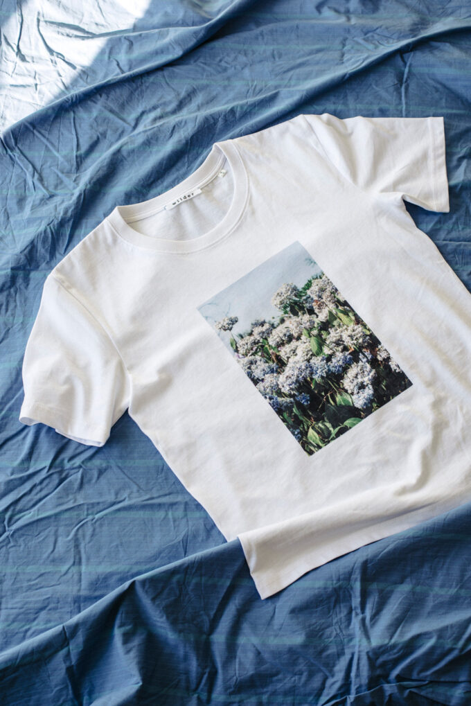 Wilder Objects Hydrangea tee, unisex organic cotton