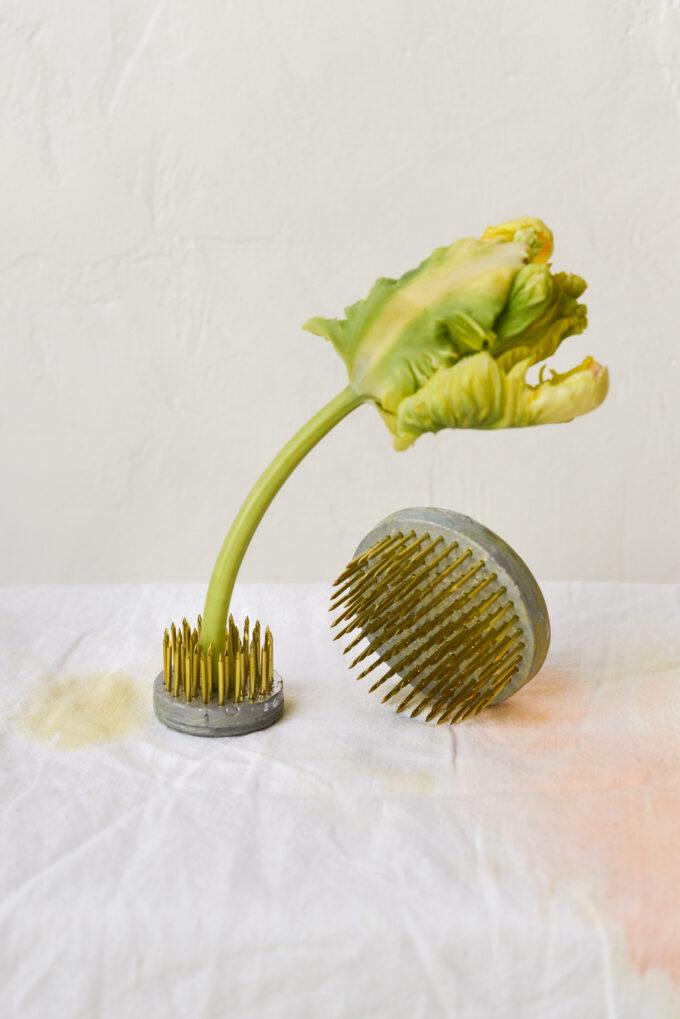 Kenzan, a Japanese tool for flower arranging, at Wilder Antwerp