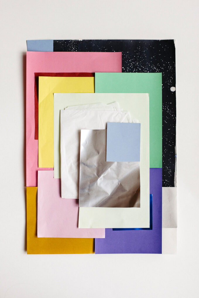 Stationery at Wilder Antwerp - double postcard set pink featuring 'Paper Pile' print