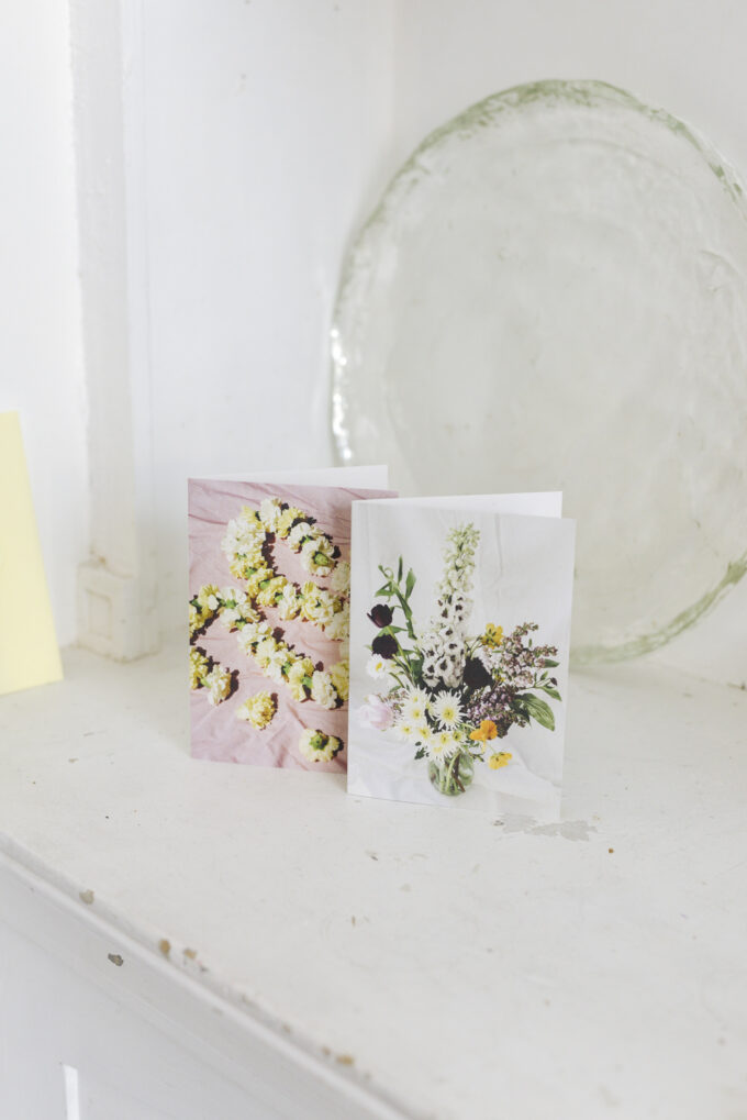 Stationery at Wilder Antwerp - double postcard set yellow featuring 'Spring Bouquet' print