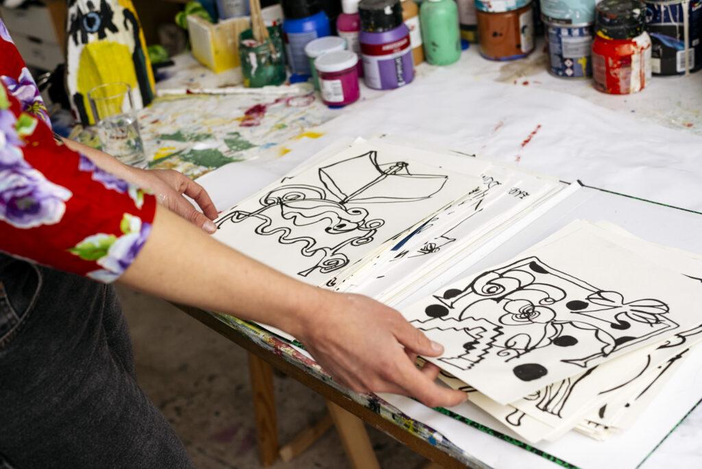 Fleur De Roeck showing sketches at her studio by Wilder Antwerp