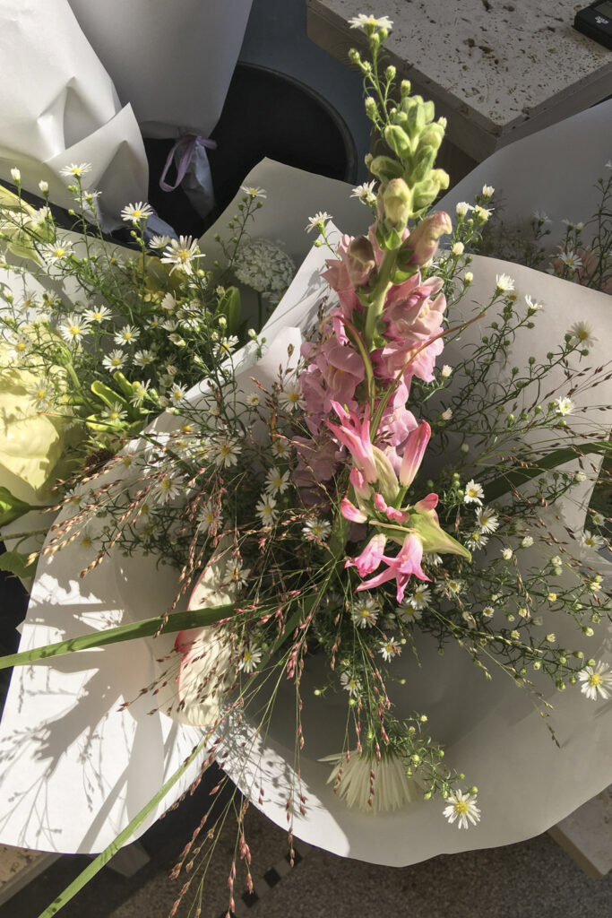 Seasonal summer bouquet with wild grasses at Wilder flower shop Antwerp
