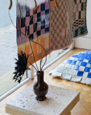 Wiesi Will ikat weavings exhibition at Wilder Antwerp flower shop
