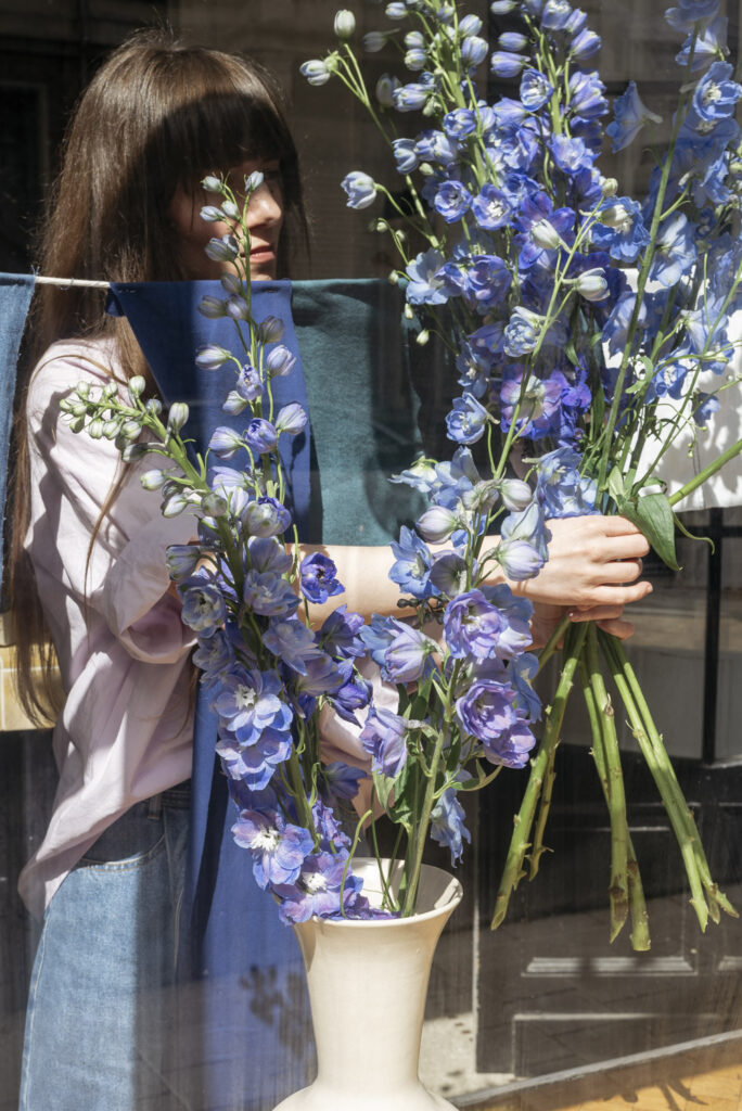 Arranging delphinium in the window of flower shop Wilder Antwerp