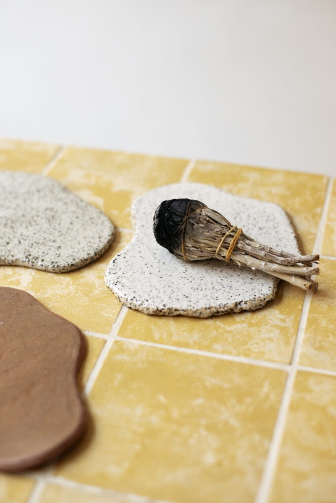 Clay Club puddle coasters, ceramic design by Sigrid Volders at Wilder Antwerp