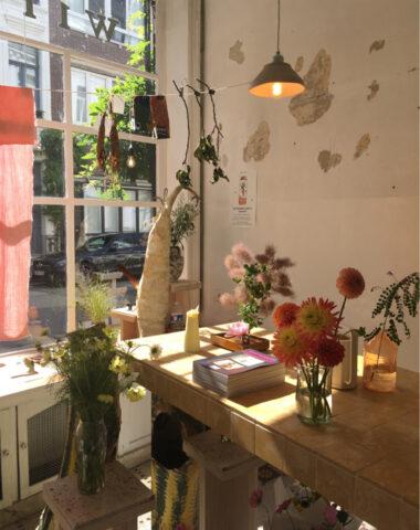 Summery shop view at Wilder Antwerp flower shop