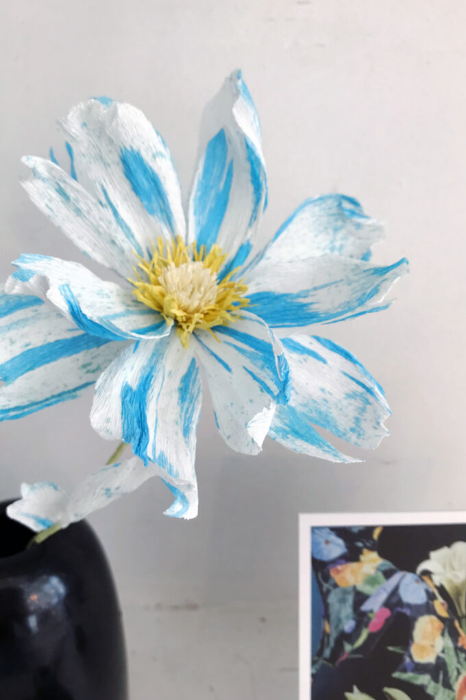 Wilder Objects blue striped paper flower, made to order