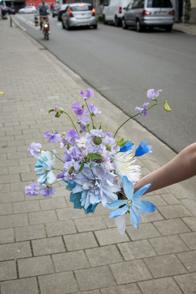 Bespoke wedding bouquet in blue and lilac for Laura